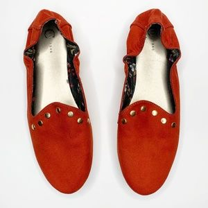 Charming Charlie Burnt Orange Studded Loafer Flats